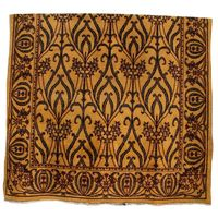 . 1940 Beautiful hand-made wool rug of European origins. Gold background with pattern in black and red.