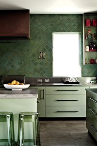 Green tile! 10 Stylish Kitchens with Stainless Steel Countertops | Apartment Therapy.