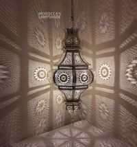 Moroccan Silver Pendant lamp, ceiling lamp Shades | Moroccan flush mount ceiling light $320.00