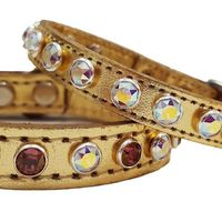 Metallic Gold Leather Dog Collars with Swarovski Crystal Bling, Perfect for Small Dogs, Puppies, Cats and Kittens $28.00