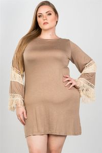 Ladies fashion plus size crochet mini dress $19.51