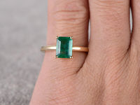 1.15CT EMERALD CUT NATURAL EMERALD SOLITAIRE ENGAGEMENT RING 14K YELLOW GOLD BALL PRONG