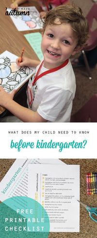 What should my child know before kindergarten? Answer this question with a free printable kindergarten readiness checklist. What your kid needs to know.