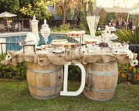 Rustic dessert table. I want a big E!!