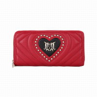 Love Moschino Studs Quilted Leather Wallet Red