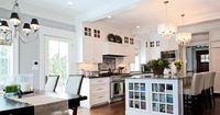 traditional craftsman vintage kitchen custom cabinets painted paint grade island built in bookcase glass doors