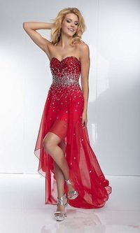 Mori Lee 95040 High Low Red Sequin Prom Dress