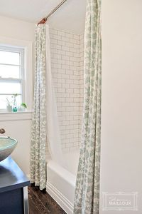 Double Shower Curtain Shauna Mailloux. So beautiful. Great idea to tile to the ceiling.