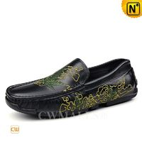 CWMALLS® Men Designer Embroidered Leather Moccasins CW708222 [Leather Shoes Reviews, Custom Made]