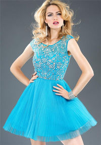 Blue Beaded High Neck Short Dresses For Homecoming