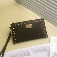 MICHAEL Michael Kors Bedford Studded Saffiano Leather Zip Clutch Black