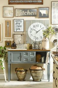 Add a little rustic, country charm to your kitchen, and you will feel like you are a little girl back at your grandma's house making apple pie! Kirkland's Farmhouse Collection has everything from wall plaques to mason jars to baskets that are full...