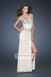Long White Sequin Sheer Slit Prom Dress 2014