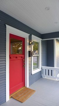 A collection of 35 different red front doors for residential homes. Check out the many types of red doors for your front entry.