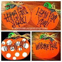 Pumpkin Decor, Custom Hand Painted Fall Pumpkin Door Sign, Door Hanger, Wood Sign, Halloween, Happy Fall Yall, Give Thanks, Welcome, Family. $ 33.00, via Etsy.