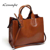 iCeinnight fashion women bag High quality oil pu leather shoulder bag female vintage luxury brand big tote with long belt black $40.12