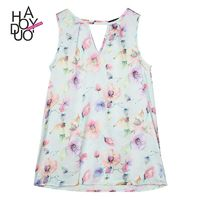 Vogue Sweet Printed Hollow Out Scoop Neck Sleeveless Summer Sleeveless Top - Bonny YZOZO Boutique Store