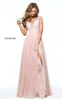 Sherri Hill 50995 Blush Tulle Lace Beaded Long Prom Dress