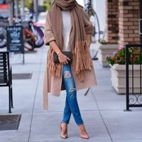tan jacket with fringe scarf outfit idea