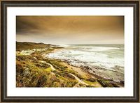 Elevation Bay Framed Print | Elevated seaside landscape on a quaint sea village in remote western Tasmania. Trial Harbour, Australia | #landscapeframedart #landscapefineart #landscapeart #trialharbour #coastdecor #beachart #tasmanian #walldecor