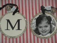 Semi-homemade ornaments- ornaments from Pottery Barn with child's initial (or family initial) and mod podge a picture to the back of the ornament. So cute!!