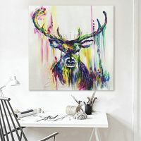 Deer head painting Acrylic painting on canvas art heavy texture large wall art Home Decor hand painted Original painting cuadros abstractos $119.00