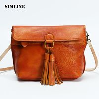 SIMLINE Preppy Style Genuine Leather Cowhide Women Crossbody Bag R436.20