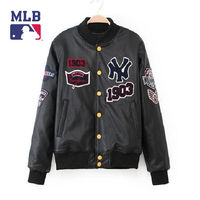 Mens New Arrival Grey PU Leather NY 1903 Baseball Warm Outwear Jacket On Sale