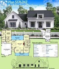 Architectural Designs Modern Farmhouse Plan Plan 51762HZ gives you just over 2,000 square feet of heated living space PLUS a bonus room over the garage. Designed in response to numerous requests for a smaller version of House Plan 51754HZ, we're excit...