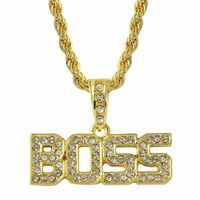 GOLD PLATED ICED OUT BOSS WORD PENDANT IRON ROPE CHAIN HIP HOP BLING  Dimensions: Pendant: 4mm 30inches Available Colour: Gold
