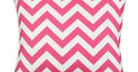 Find it at the Foundary - 17 in. Zig Zag Candy Pink Pillow $23. Chevron is so in! 100% cotton decorative pillow Zippered closure 100% polyester filling Pink and white cover Dimensions: 17 x 17 inches