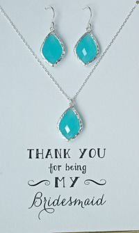 Set of 7 Mint Jewelry set for Bridesmaids, Mint Blue Necklace Earrings Set Silver, Mint Blue Bridesmaid Necklace and earrings, MP7 $284.50