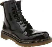 Dr Martens Black Delaney Girls Youth Your little fashionista can stay seriously cool this season as the Dr Martens Delaney boot arrives for kids. The iconic style features a black patent leather upper for a premium feel, along with yello http://www.compar...