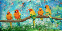 Sun Parrot Branch Meeting Art Print