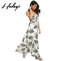 Vogue Sexy Open Back Printed Hollow Out Low Cut Floral Vegetation Summer Dress - Bonny YZOZO Boutique Store