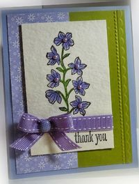 Stamps: Peaceful Petals Paper: Wisteria Wonder, Lucky Limeade, watercolor paper Ink: Basic Black, markers Accessories: ribbon, designer button Tools: Big Shot, Adorning Accents EF, dimensionals
