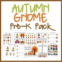 Free Autumn Gnome Pre-K pack, includes cutting, size sequence, counting, coloring, matching, letters, and 3-part vocab cards.