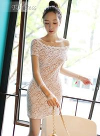 Sweet Boat Neck Lace Bodycon Dress