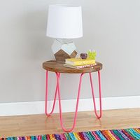 Shop Neon Nightstand (Hot Pink). Our Neon Nightstand is the perfect blend of bright, eye-popping color and beautiful, natural wood tone. The legs are brightly painted, while the top is finished using only a clear topcoat.