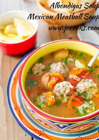 Albondigas Mexican Meatball Soup Recipe: ground beef, garlic, onion, Rice, egg, fresh mint, fresh parsley, fresh or dried oregano, ground cumin, chili powder, salt, pepper, carrots, potato, olive oil, beef broth, canned diced tomatoes, lemon juice, cayenn...
