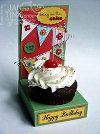Fancy cupcake holder. Love the pennants! #stampinup