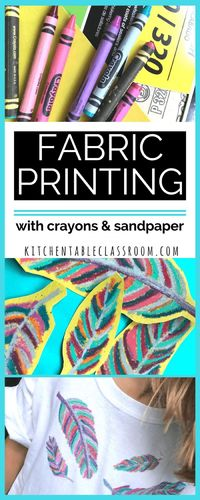 My kids love wearable art. This fabric printing method is especially do-able because it doesn't require any special fabric medium, just plain old crayons. Use p