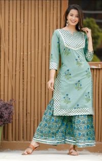 Beautiful Sky Blue Cottan Bandej Print kurti with plazzo for Indian traditional dress for girls and woman $23.90