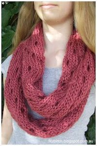 Free knitting pattern from Fitzbirch Craft. Easy Eyelet Infinity Cowl.