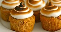 Great Thanksgiving side: sweet potato cupcakes with toasted marshmallow frosting.