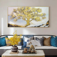 Gold art Tree Painting acrylic paintings on canvas original art large Wall Art palette knife wall Pictures Home Decor Hand Painted $149.00