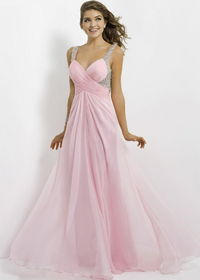 Pink Crisscross Pleated Low Back Sequined Evening Gown Cheap