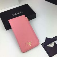 Prada 1M1213 Lettering Logo Calfskin Leather Card Wallet In Pink