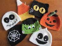 "A Chick w/ Sticks: Trick or Treat Halloween Hats. Links for FREE patterns in my ""Crochet Hats & Props"" Board"