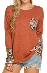 Women's Casual Blouse Long Sleeve O-Neck Patchwork Loose $30.00